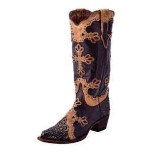 Ferrini Western Diva Antique Leather Cross Boots 8